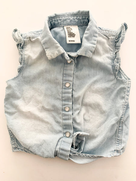 H&M denim tank with tie & ruffle sleeves size: 1.5-2Y