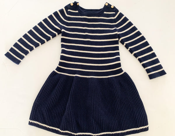 Gap navy and white stripe dress w/gold buttons  (size 4)