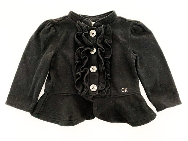 Calvin Klein black ruffle button down sweater (18 months)