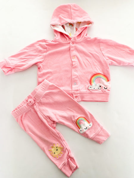 Gymboree 3pc hoodie, leggings & toque with sunshine & rainbow print size 0-3 months