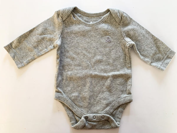 Gap grey LS onesie (0-3 months)