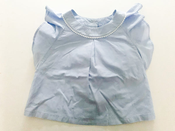 Janie & Jack blue shirt with ruffle sleeve size 2T