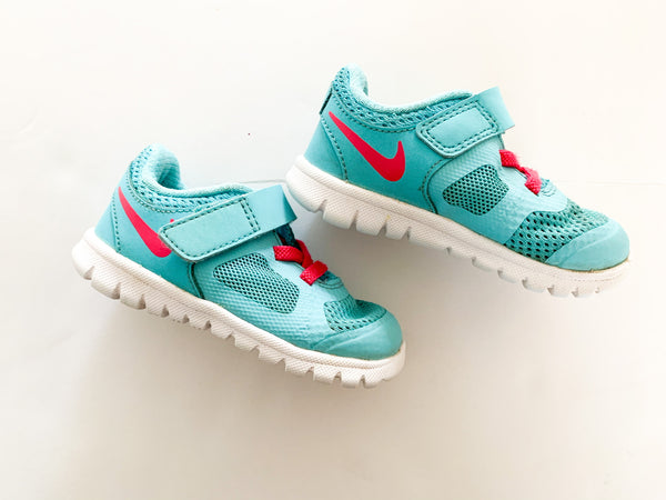 Nike blue sneakers with velcro strap and pink details  size: 5c