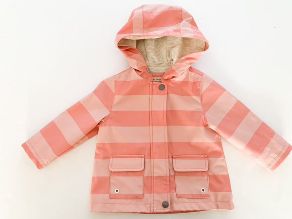 Zara girl pink striped rubber coat (9/12 months)