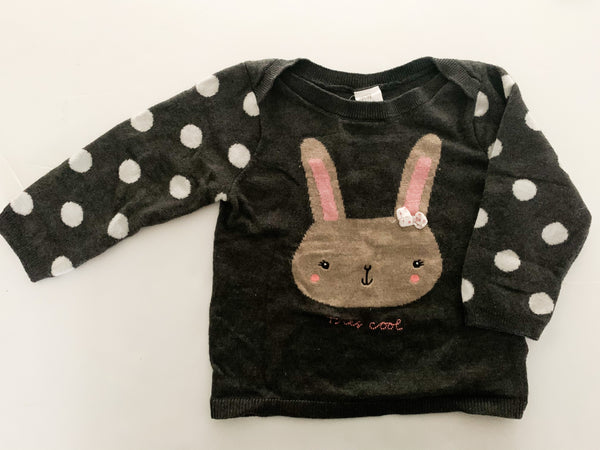 HM grey sweater with bunny and polka dot sleeves    (9/12 months)
