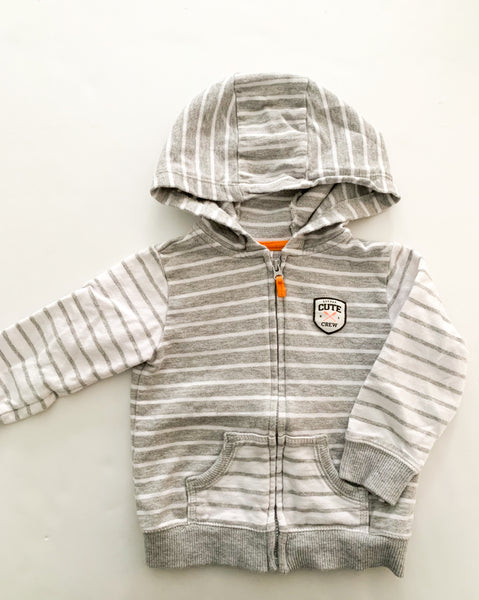 Carters grey and white stripe zip up hoodie (18 months)