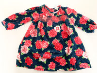 Le Top floral corduroy long sleeve dress with matching tights size 18 months