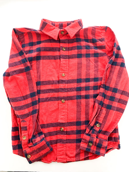 Jumping beans red and navy flannel button shirt (size 7)