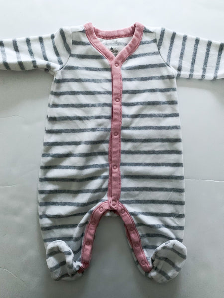 Gap stripe fleece grey and white with pink trim  (0-3 months)