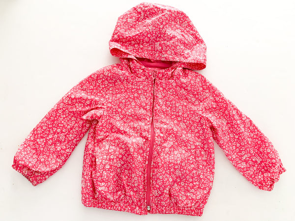 Baby Gap pink floral hooded rain jacket size: 3Y
