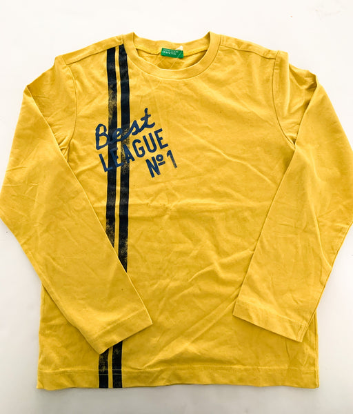 Benetton mustard yellow long sleeve with navy graphic print & stripe detail new with tags size: M (7/8Y)