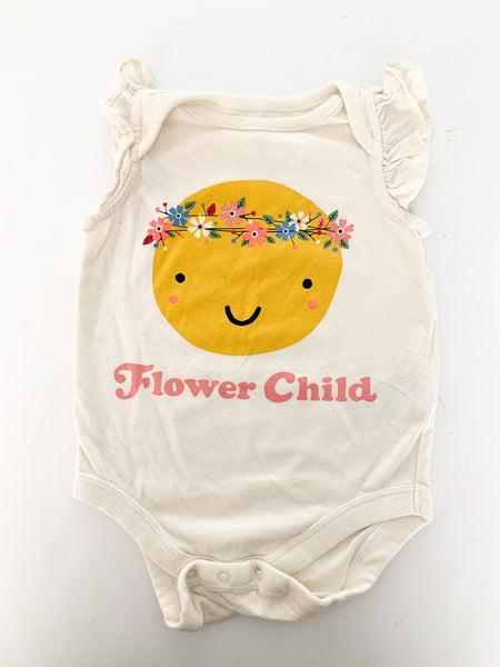 "Baby Gap cream ""flower child"" sleeveless bodysuit size: 3-6 months"