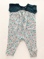 Tea floral print w/polka dots one piece ( 3-6 months)