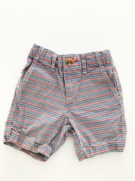 Old navy blue & red print shorts (18-24 months)