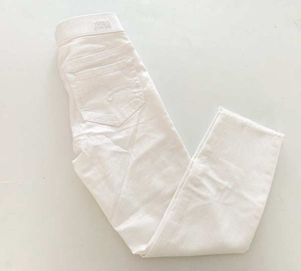 Justice white denim ankle jegging with fray hem new with tags size 8Y