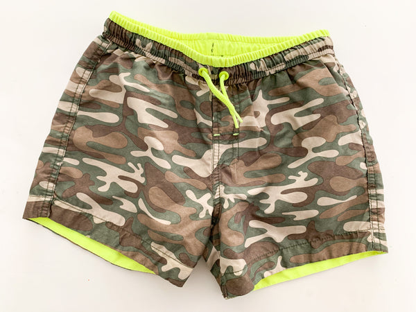 Camo swim shorts with neon yellow size: 7/8Y