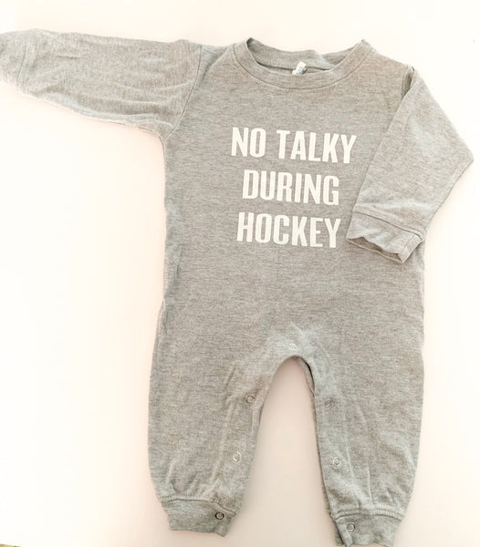 "Portage and Main ""no talky during hockey"" onesie"