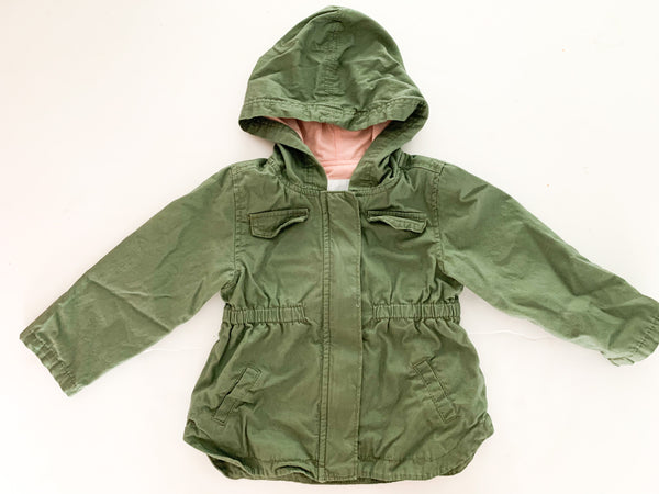 Old navy army green jacket with hood (18-24 months)