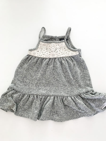 Gap grey tank dress with embroidery (12-18 months)