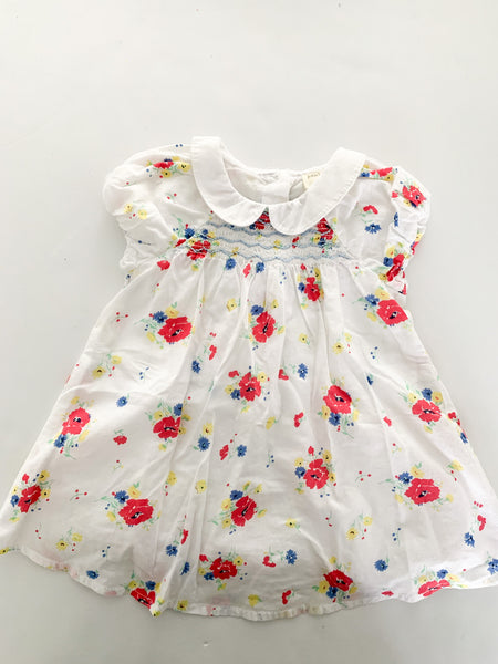 John Lewis Baby floral dress with Peter Pan collar & matching bloomers size 3-6 months