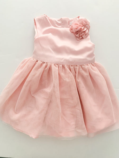 Joe Fresh pink satin dress with tulle skirt size 6-12 months