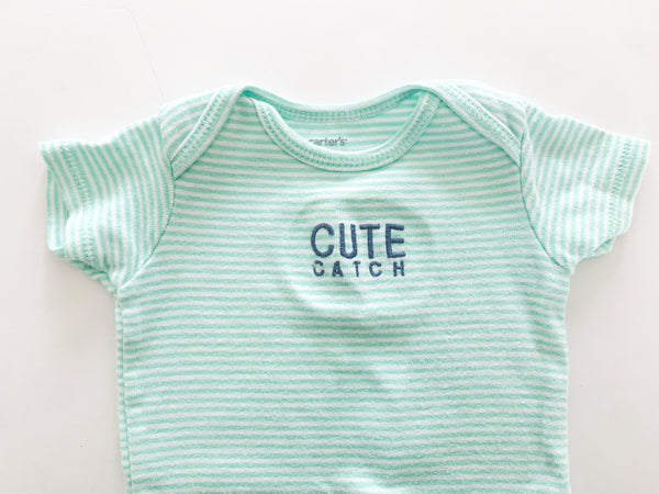 Carters cute catch green stripe onesie (6 months)
