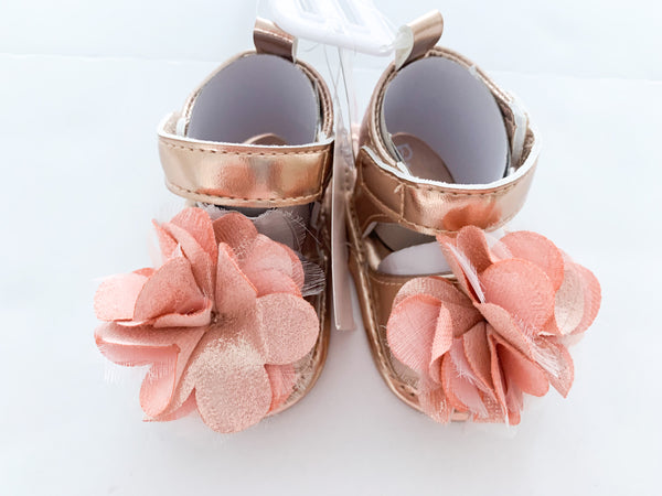 Rising star rose gold floral sandals (0-3 months)