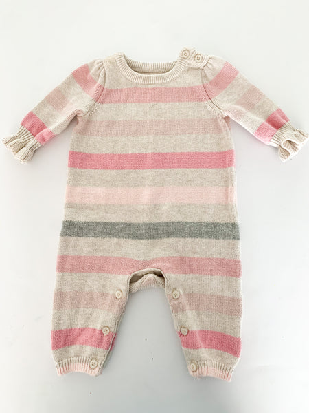 Gap pink stripe one piece (0-3 months)