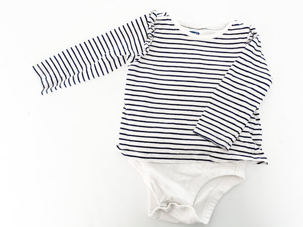 Old Navy long sleeve stripe bodysuit with ruffle details size 12-18 months