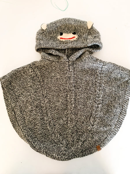 Roots sock monkey heather grey knit hoodie poncho size 3-5Y