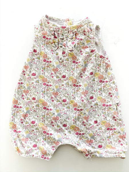 Burt's Bees Baby floral sleeveless romper with ruffle details size 0-3 months