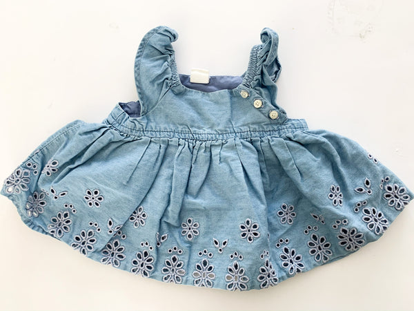 Baby Gap denim ruffled tank top with eyelet details size 3-6 months