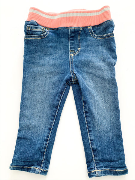 Gymboree denim jeans with peach elastic band (12-18 months)