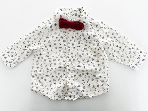 Old Navy winter print button down shirt with bow tie (0-3 months)