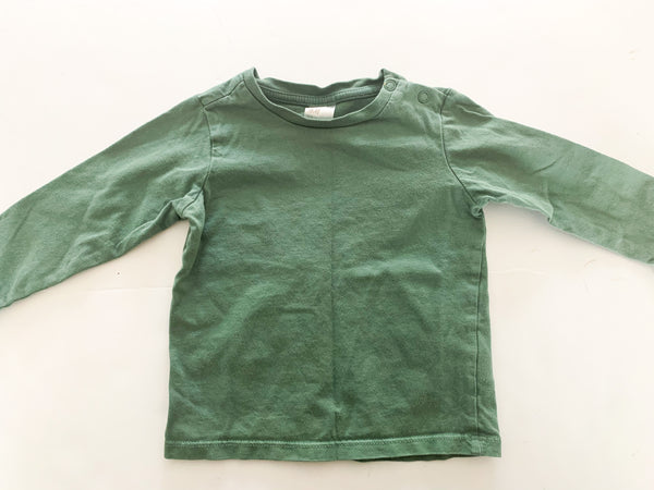 HM green LS shirt (6-9 months)