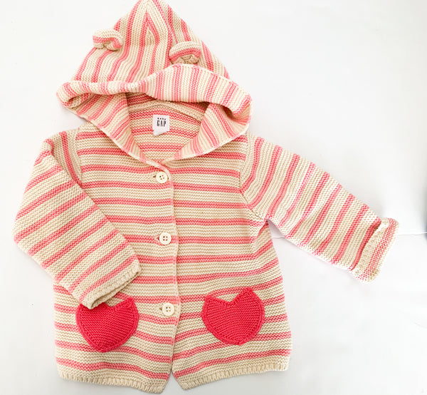 Gap stripe button down w/hood (6-12 months)