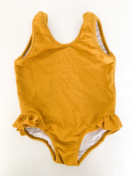 Salty swimwear mustard ribbed one piece swimsuit  (size 6)