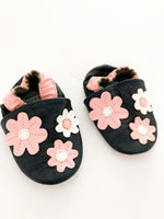 Tickle toes navy floral slip ons  (0-6 months)