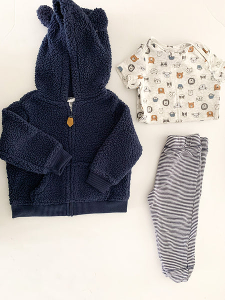 Carter's 3pc with teddy zip up, bodysuit &joggers size 12 months