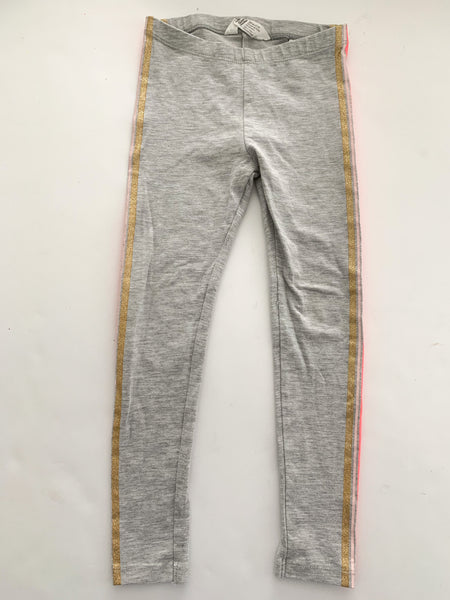 HM grey leggings with pink & gold stripes (3-4)