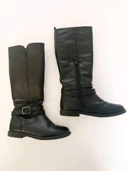 Joe Fresh black faux fur tall riding boots size 8