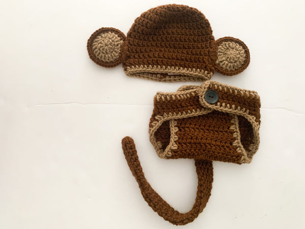 Monkey 2pc knit bottom and hat (new born)