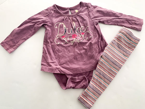 "Tea ""dulce"" purple onesie with stripe leggings (12-18 months)"