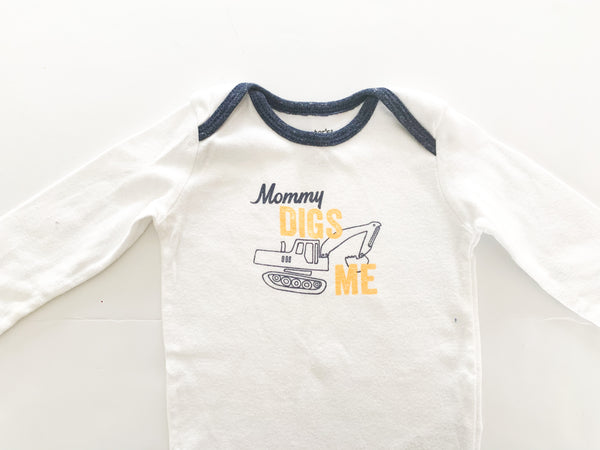 Carters mommy digs me bulldozer onesie  (6 months)