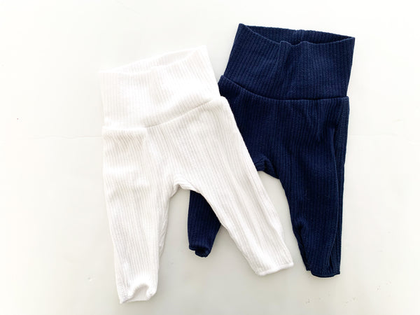 Bonds white and navy ribbed leggings (premature)