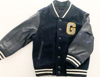 Baby Gap navy wool & faux leather bomber jacket size 3Y