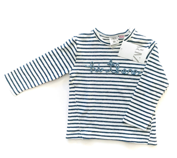 "Zara ""hi there"" blue stripe LS"