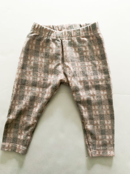 Zara pink and grey plaid leggings  (12/18 months)