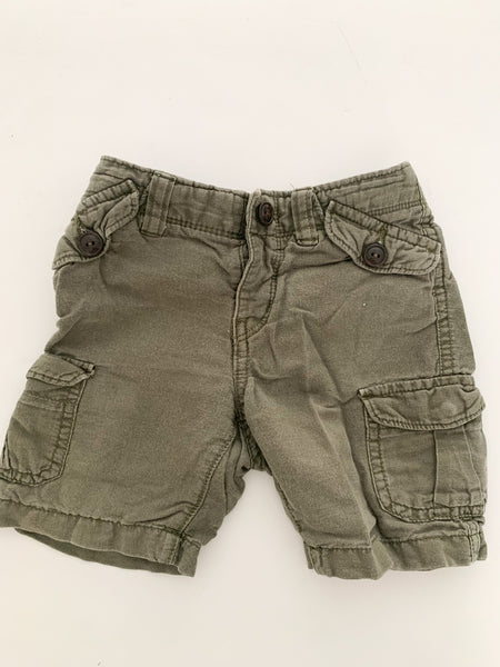 Baby Gap army green soft cargo shorts size 18-24 months