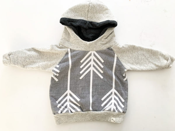 Bear and Roo grey hoodie with arrow graphic print size 3-6 months